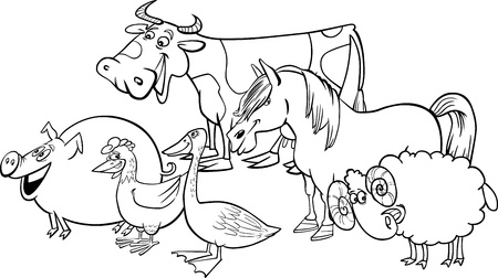 coloring book pages: Cartoon illustration of funny farm animals group for coloring book