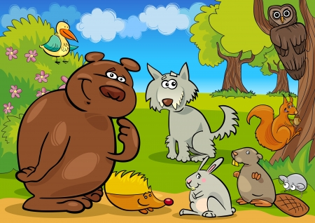 cartoon illustration of funny wild forest animals