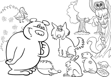 cartoon illustration of wild forest animals for coloring book Vector