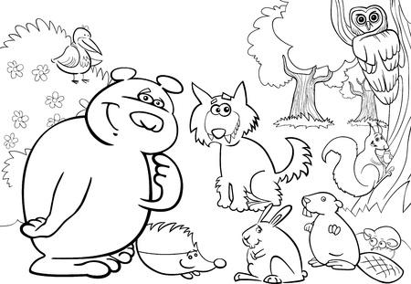 castor: ilustraci�n de dibujos animados de animales silvestres de los bosques para el libro para colorear