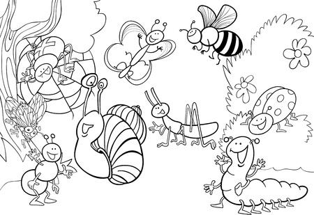 dibujos para colorear: ilustración de dibujos animados de insectos divertidos en el prado de libro para colorear