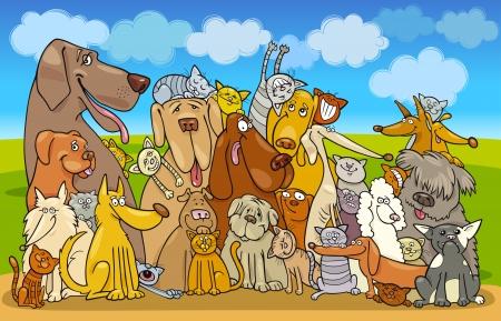 cartoon poes: Illustratie van de groep van honden en katten tegen de blauwe hemel