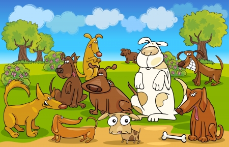 spotted dog: Cartoon Illustration of dogs on the meadow Illustration