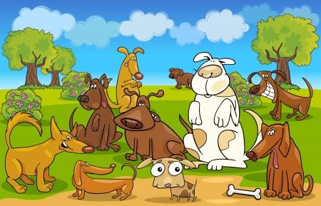 perro caricatura: Ilustraci�n de dibujos animados de los perros de la pradera