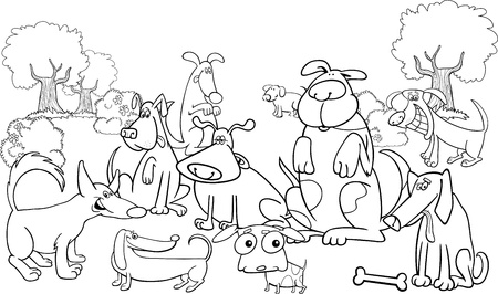 Cartoon Illustration of dogs on the meadow for coloring book Vector