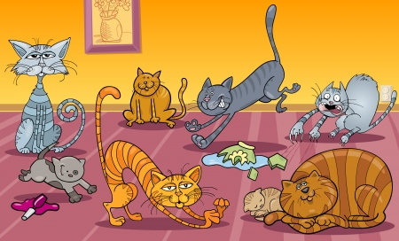 Cartoon Illustration of Many Naughty Cats at Home Vector