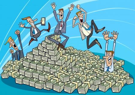 錢: 卡通插圖快樂成功的商人和錢堆