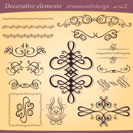 set of decorative ornament ant design elements for layout and illustration Vector