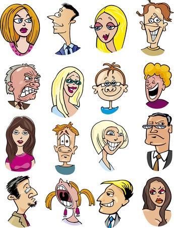 karikatuur: cartoon illustratie van de verschillende mensen karakters en emoties