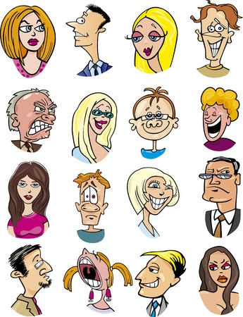 angry blonde: cartoon illustration of different people characters and emotions Illustration