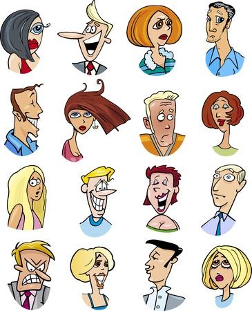 caricaturas de personas: ilustraci�n de dibujos animados de personajes de diferentes personas y las emociones