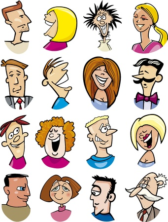 serene people: cartoon illustration of different people characters and emotions Illustration