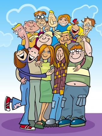 jugendliche gruppe: Karikaturillustration Teenager-Gruppe in einer Umarmung Illustration