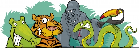 animal border: Cartoon illustration of Jungle Wild Animals header design Illustration