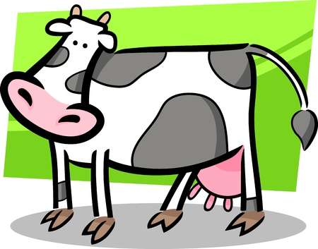cartoon doodle illustration of cute farm cow Vector