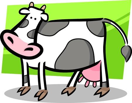 female animal: cartoon doodle illustration of cute farm cow Illustration