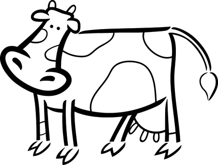 milker: cartoon doodle illustration of cute farm cow for coloring book
