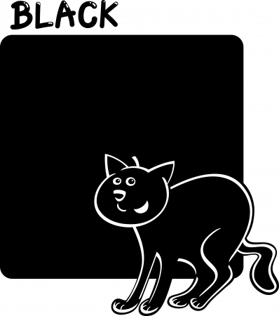 Cartoon Illustration of Color Black and Cat Illustration
