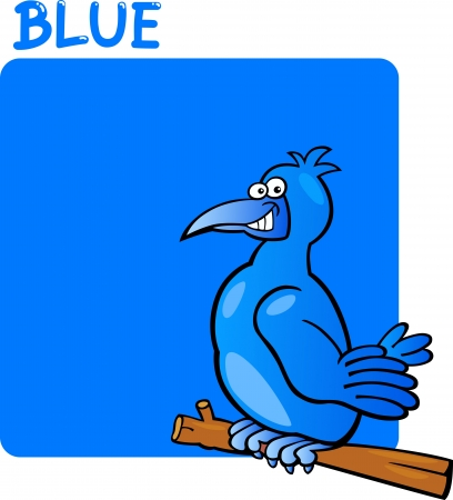 Cartoon Illustration of Color Blue and Bird