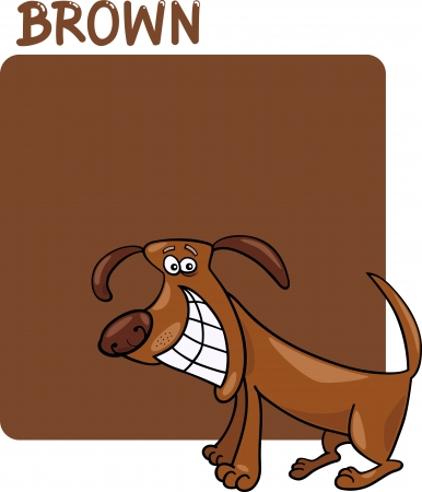 Cartoon Illustration of Color Brown and Dog Vector
