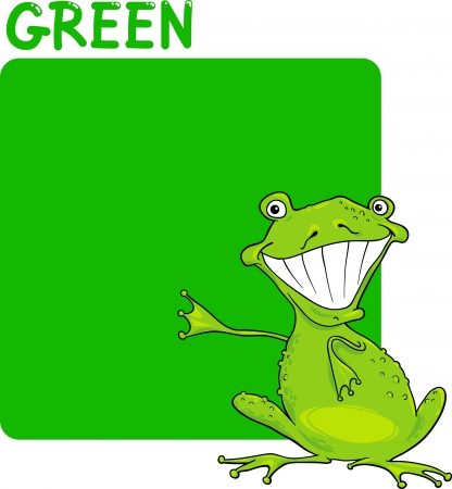 Cartoon Illustration of Color Green and Frog Vector