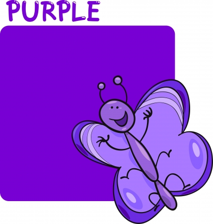 Cartoon Illustration of Color Purple and Butterfly Vector