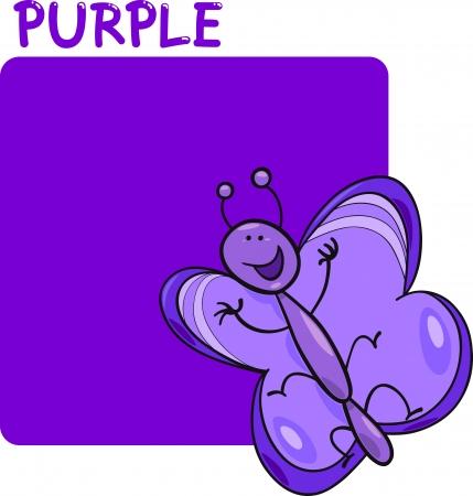 mariposa caricatura: Cartoon ilustración de color púrpura y la mariposa