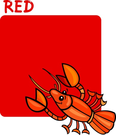 crayfish: Cartoon Illustration of Color Red and Crayfish