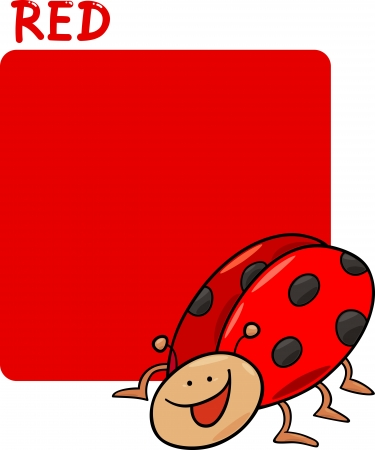 Cartoon Illustration of Color Red and Ladybug Vector