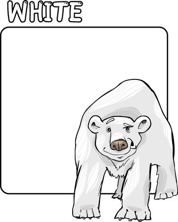 Cartoon Illustration of Color White and Polar Bear Vector