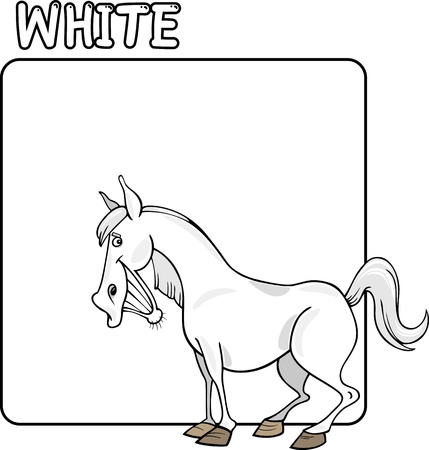 Cartoon Illustration of Color White and Horse Vector