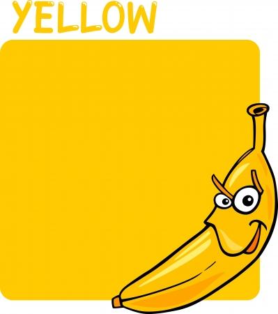 Cartoon Illustration of Color Yellow and Banana