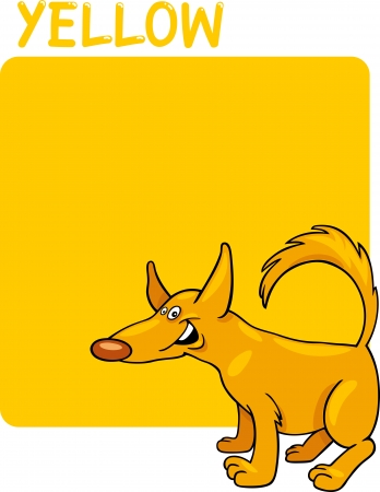 Cartoon Illustration of Color Yellow and Dog