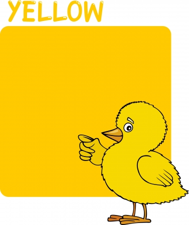 Cartoon Illustration of Color Yellow and Chick Vector