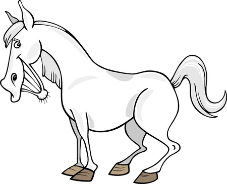 Cartoon illustration of funny gray horse Vector