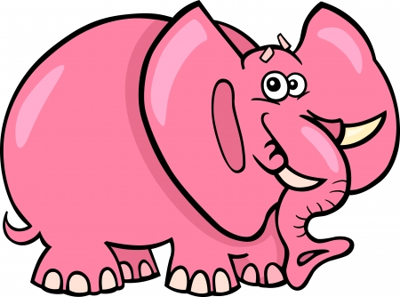 fairytale character: Cartoon Humorous Illustration of Cute Pink Elephant