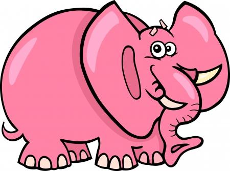 nice smile: Cartoon Humorous Illustration of Cute Pink Elephant