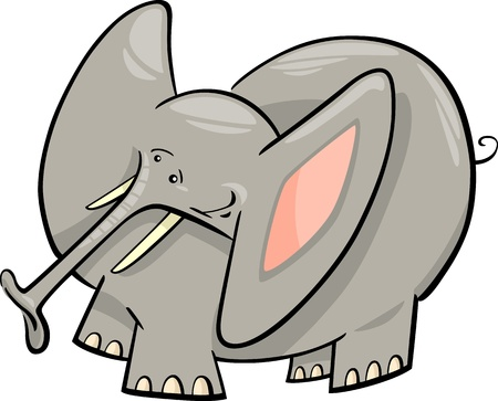 Cartoon Humorous Illustration of Cute Gray Elephant  Vector
