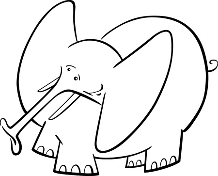 Cartoon Humorous Illustration Of Cute Elephant For Coloring Book Vector
