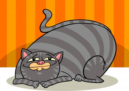 gray cat: cartoon illustration of cute gray fat tabby cat
