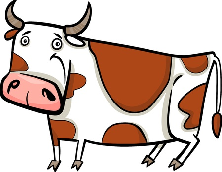 milker: cartoon illustration of cute spotted farm cow