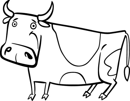 milker: cartoon illustration of cute spotted farm cow for coloring book