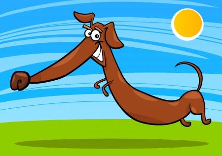 cartoon illustration of happy jumping dachshund dog Vector