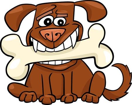 Cartoon Illustration of Funny Dog with Big Bone