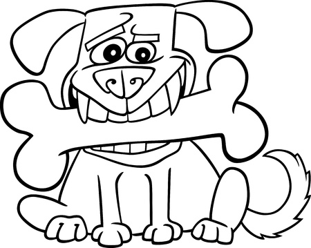 Cartoon Illustration of Dog with Big Bone for Coloring Book Vector