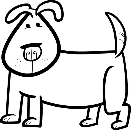 cartoon doodle illustration of cute dog or puppy for coloring book Vector