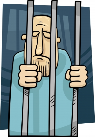 prison cell: cartoon illustration of sad jailed man behind the prison bars
