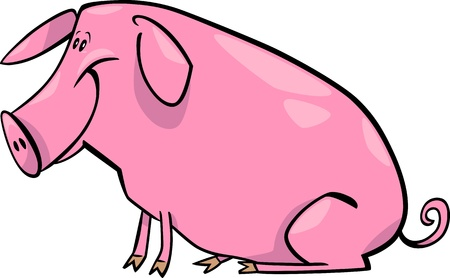 cartoon illustration of cute pink farm pig Vector