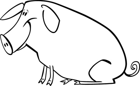 coloring page illustration of funny farm pig Vector