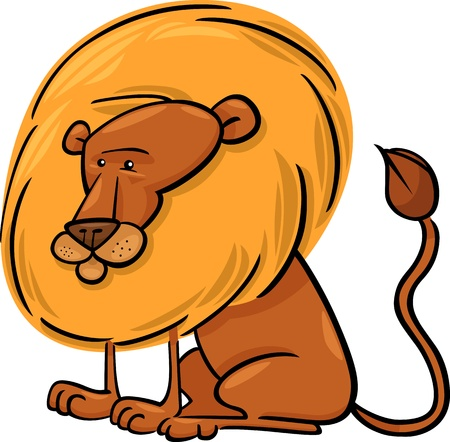 Cartoon Illustration of Cute African Lion Character Vector